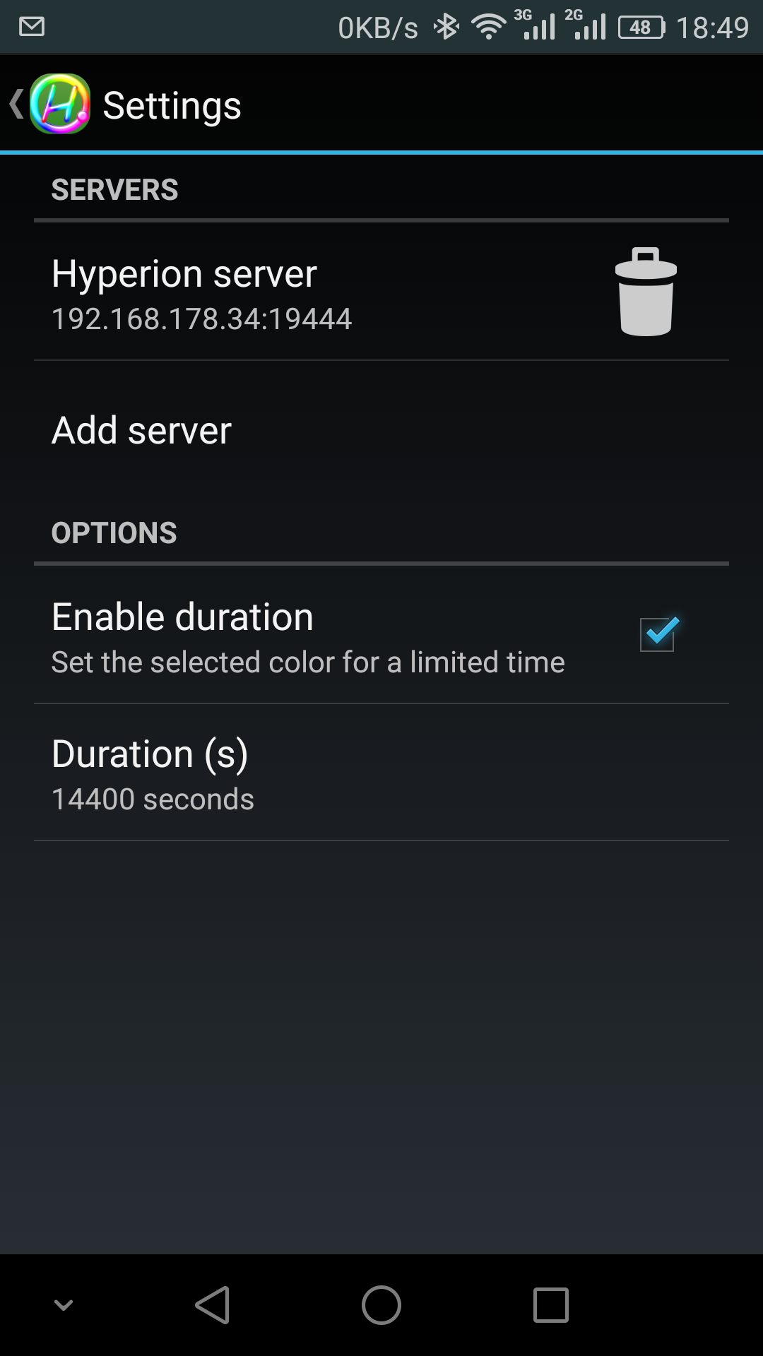 Hyperion Smartphone Settings
