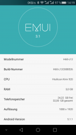 Honor 6 H60-L12 mit Android 5.1.1 Lollipop und EMUI 3.1